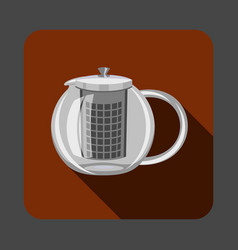tea glass pot concept background cartoon style vector image