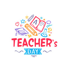 Teacher s day colorful logo vector