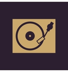 The turntable icon DJ and gramophone player vector image