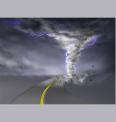 Tornado with lightnings hurricane on road vector