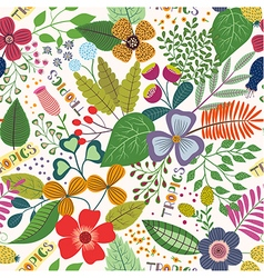Tropical seamless pattern with leaves and flowers vector