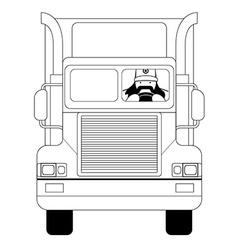 Trucker inside cargo car Line-art vector