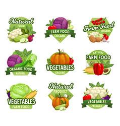 vegetables icons farm market food veggies vector image