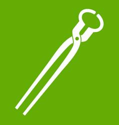 Vintage blacksmith pincers icon green vector