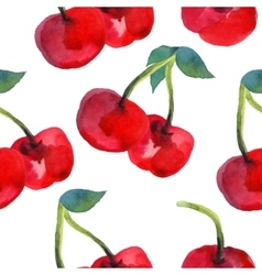 Watercolor cherries seamless pattern vector image