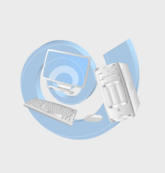 White computer and spiral vector