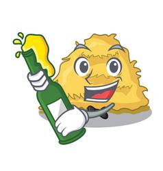 With beer hay bale mascot cartoon vector