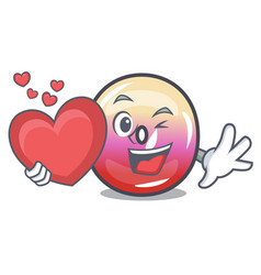 with heart jelly ring candy mascot cartoon vector image