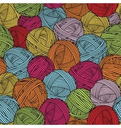 Wool balls yarn skeins Seamless pattern vector image