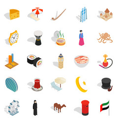 World food icons set isometric style vector