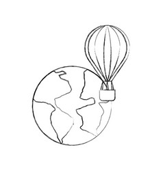 World planet earth with balloon air vector
