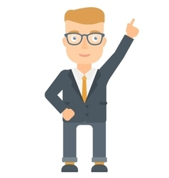 Businessman pointing up with finger vector