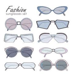 fashion glasses set hand drawn sunglasses vector image vector image