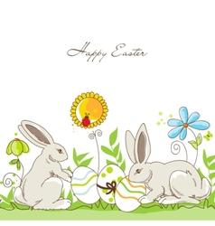 Happy Easter rabbits vector image vector image