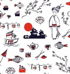 Japan symbols seamless pattern - graphic hand vector image