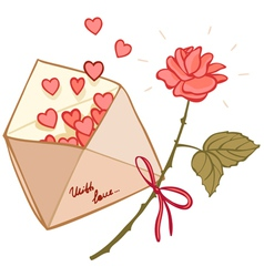 letter filled with hearts and a rose vector image vector image