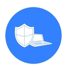Data security of laptop icon in outline style vector image
