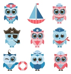 sailor owls and owlets set vector image vector image