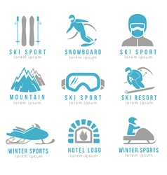 Ski resort and mountain hotel logo set with skiing vector image