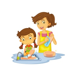 Washing dishes vector image