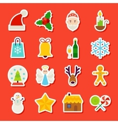 Winter Christmas Stickers vector image vector image