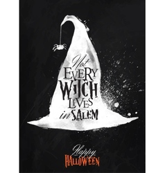 Witch hat halloween poster chalk vector image vector image