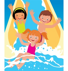Child boys and girl playing in water park vector
