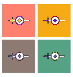 flat icon design collection sword and shield vector image vector image