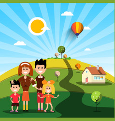 Happy family with house on sunny day on field vector