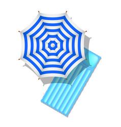 Striped beach umbrella and air mattress vector