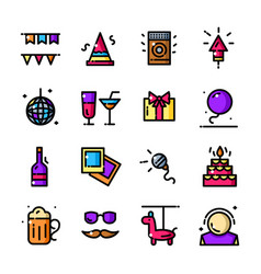 thin line party icons set vector image