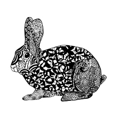 Zentangle stylized rabbit Sketch for tattoo or t vector image
