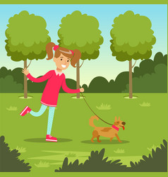 cute smiling girl walking with her dog in the park vector image