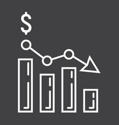 declining graph line icon business and finance vector image vector image