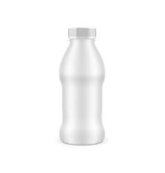 3d white glossy yogurt bottle with cap vector