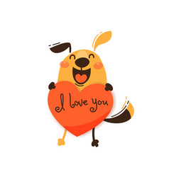 a happy dog with a valentine and message i love vector image
