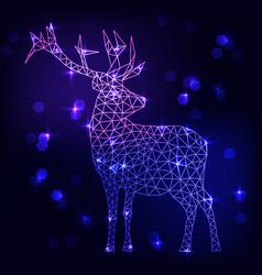 abstract polygonal deer on dark blue background vector image
