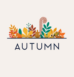 autumn leafs on background flat design vector image