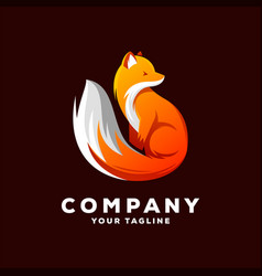 awesome fox gradient logo design vector image