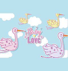baby love card with cute cartoons vector image