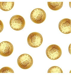 bitcoin golden coin seamless pattern golden rain vector image