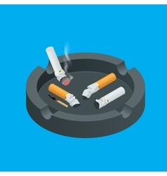 Black ceramic ashtray full smokes cigarettes vector