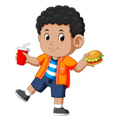 Boy eating fast food vector