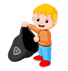 boy handling a plastic garbage bag vector image