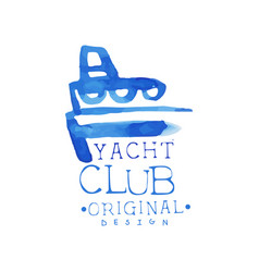 Bright blue emblem for yacht club concept of vector