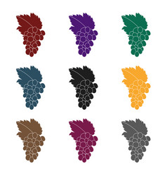 bunch of grapes icon in black style isolated on vector image