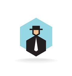 Business man in suit with tie and hat logo vector
