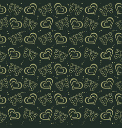 butterfly love hand drawn pattern green background vector image