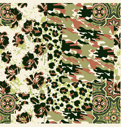 Camouflage tartan paisley leopard fabric collage vector