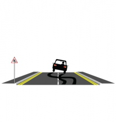 Car skidding on road vector